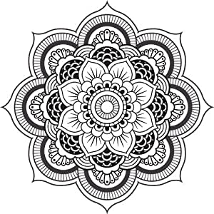 Amazoncom Detailed Mandala Design Black White Vinyl Decal Sticker