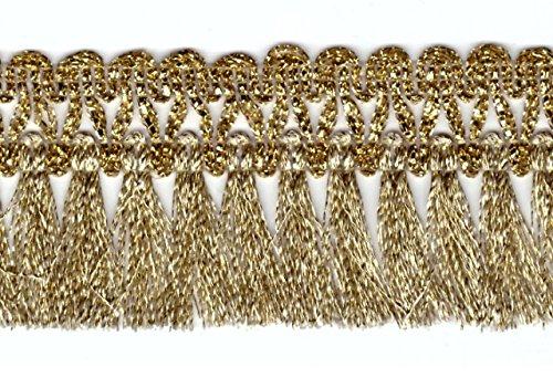 16, 40m Fransen-Borte 4, 5cm breit Farbe: helles Lurex-Gold TSL-AA360-1-Lt.Gold 1A-Kurzwaren