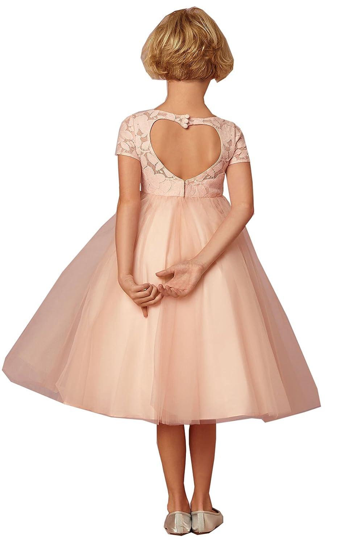 Leyidress Blush Lace Girl Dress Brdial Wedding Flower Gril Dress Kid Birthday Party Dresses Piano Performance Dress