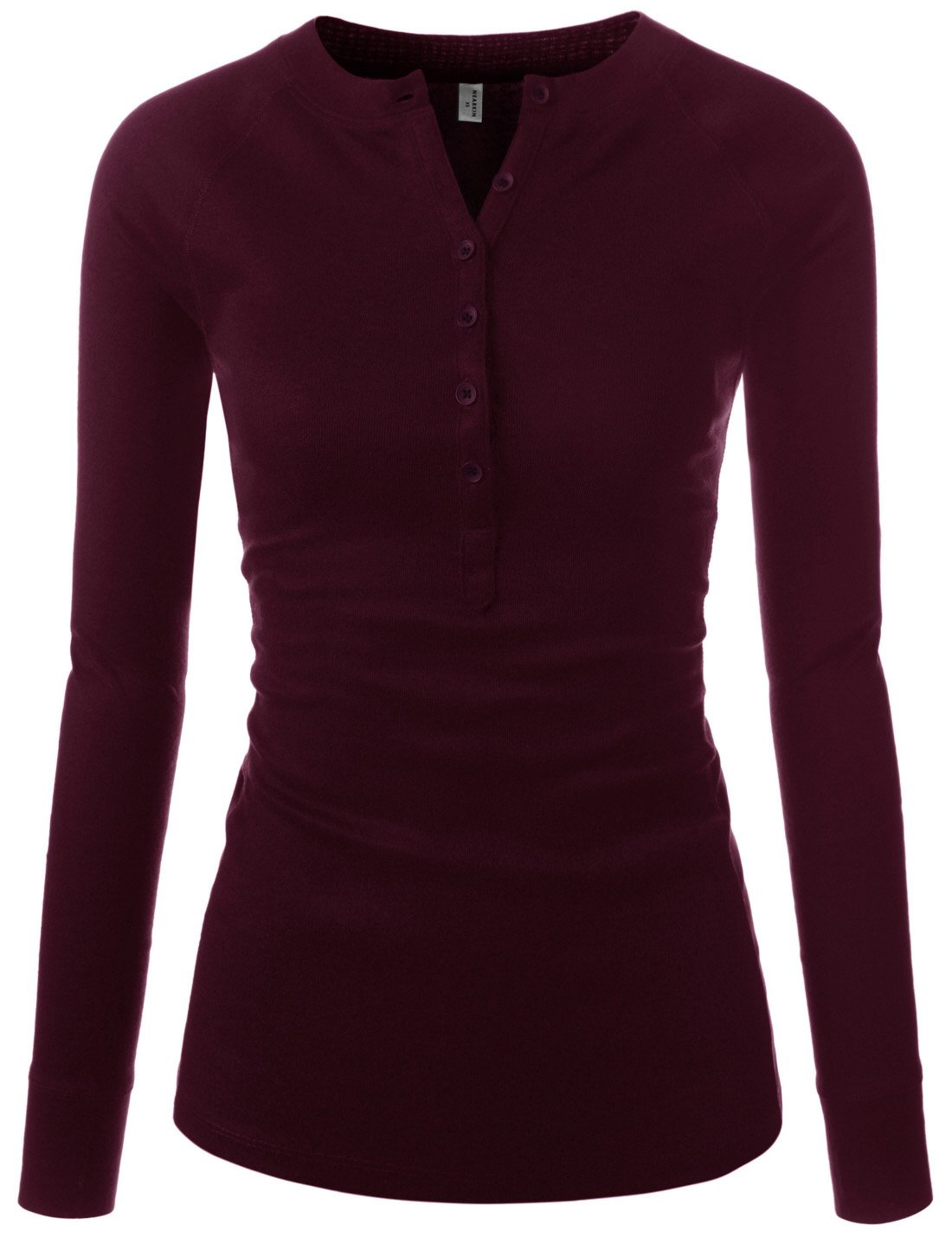 NEARKIN (NKNKWBT64) Womens Fitted Tee Henley Neck Long Sleeve Cotton Tshirts BURGUNDY US XS(Tag size S)