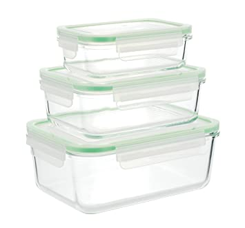 Superbe Kinetic Glasslock Series 01317 Rectangular Glass Food Storage Containers  With Locking Lids, Set Of