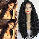 PlatinumHair #1b loose curl wigs synthetic lace front wigs...