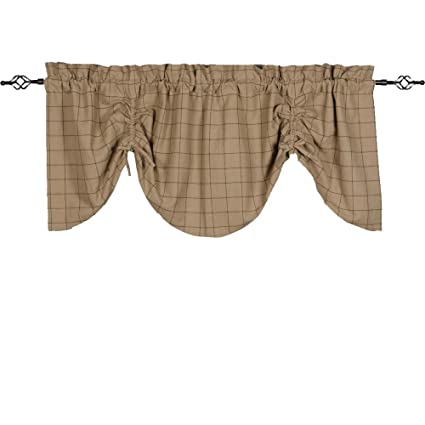 Home Collections by Raghu 72x36 Alexander Check Oat-Black Gathered Valance