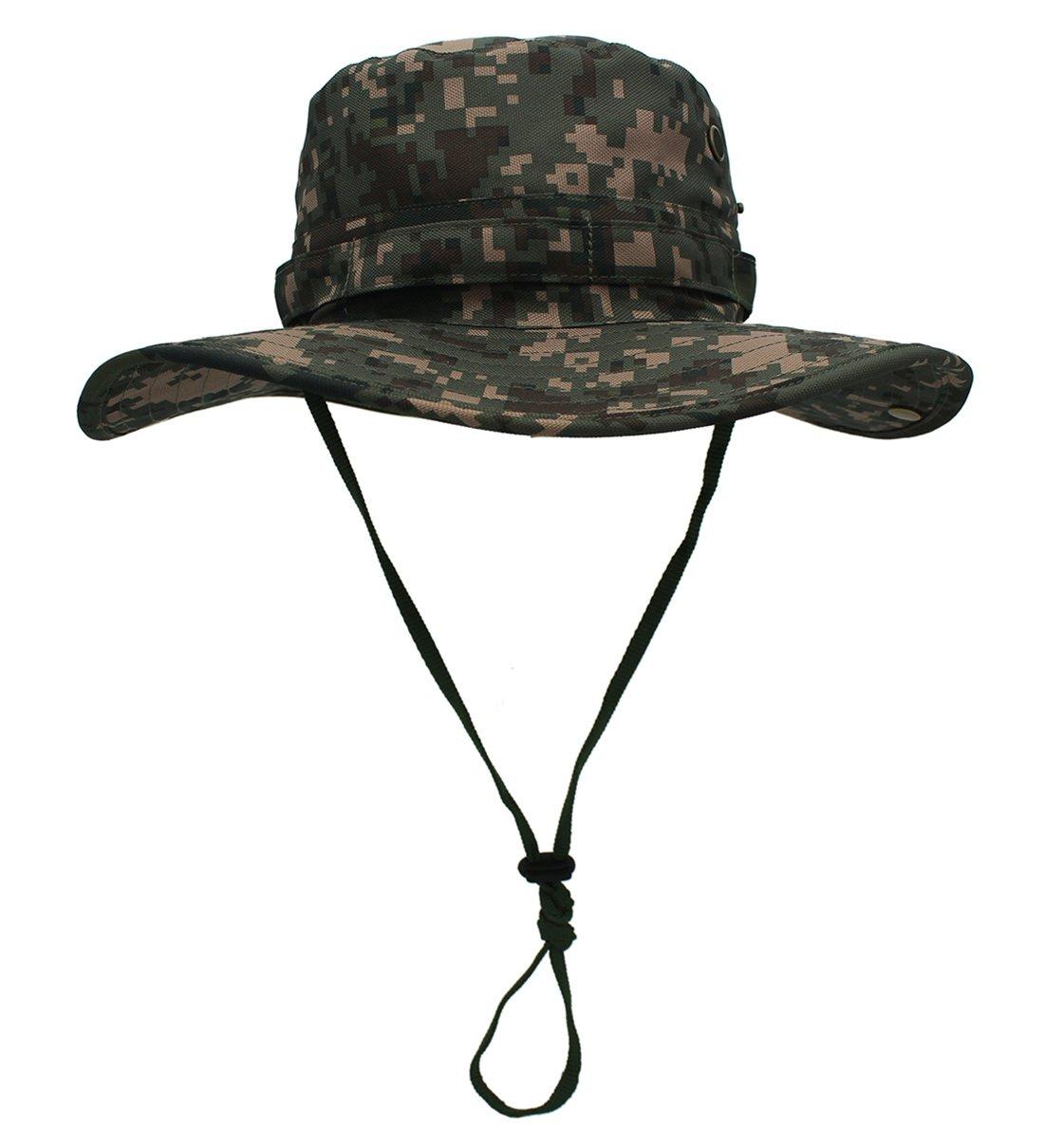 Outfly - Unisex Cappello della Benna Pieghevole Anti Sole Impermeabile Outdoor Bordo Ampio Sport Casual Cappello di Pescatore Cappello da Cowboy Hat Cappello Sole - Camouflage - 58-61cm - Verde