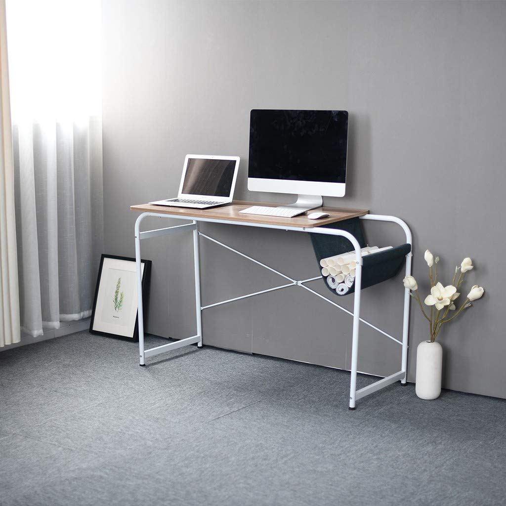 Multipurpose Home Office Desktop Computer Writing Desk, Laptop Study Table, Workstation Writing Table with Cloth Bag Storage-Shipped from US (Coffee)