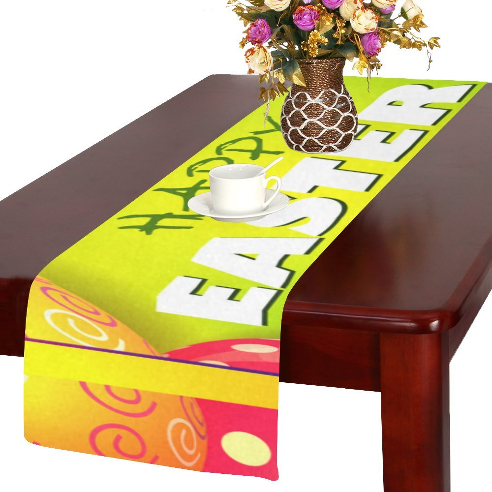 Artsadd Happyイースターカラフルな卵キッチンダイニングテーブルランナー14 x 72インチforディナーパーティー、イベント、装飾   B06XDC7HFR
