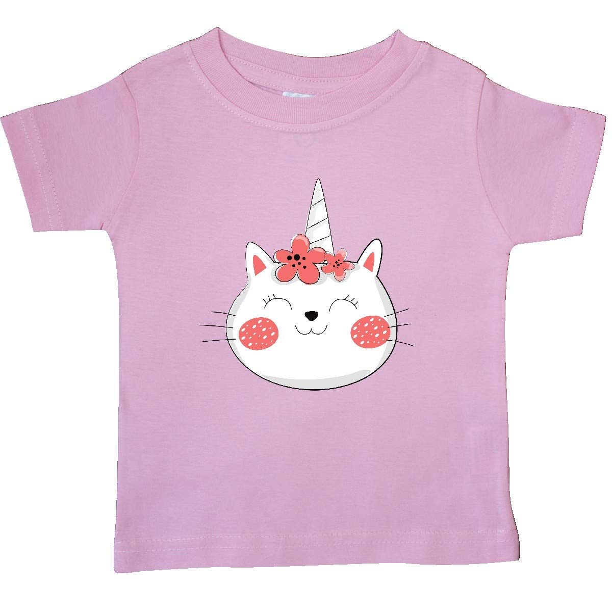 Red White Baby T-Shirt Cat with Flower Wreath inktastic Unicorn Cat