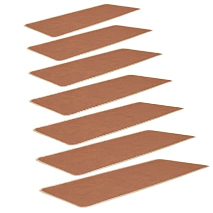 SLB Works Polypropylene Fiber Stair Tread Carpet Solid Camel Color, with Self-Adhesive Side Nylon Buckle Mounting, Non-Slip Carpets 9.4 L x 25.6 W, Stairs Treads Mats, Set of 7