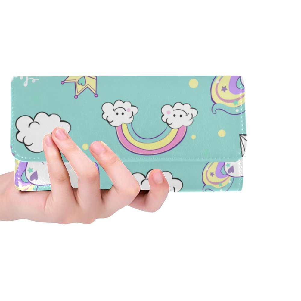 Silly Meow Beautiful Unicorns With Diamond Ice Crea Custom Women's Wallet Women's Trifold Long Clutch Wallets Great Gift