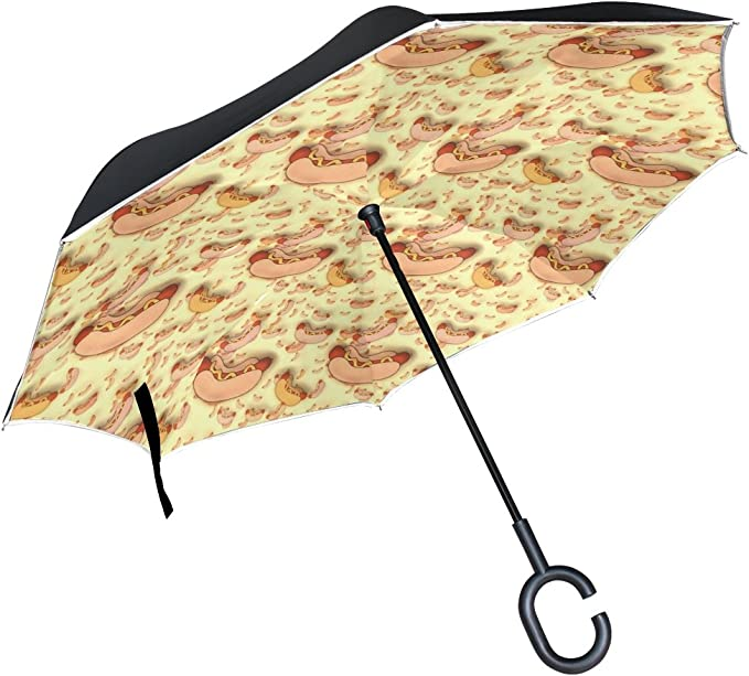 Dog Boston Terrier Lover Funny Retro Dogs Car Reverse Umbrella Inverted Umbrella with C-Shaped Handle for Car Rain