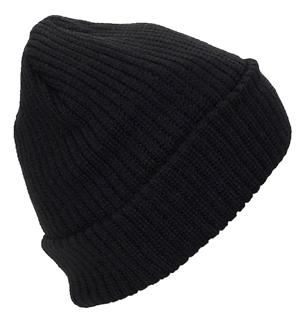 4fcd3ace745 Best Winter Hats Adult Solid Color Thick W Fleece Lined Cuffed Beanie (One  Size) - Black at Amazon Men s Clothing store