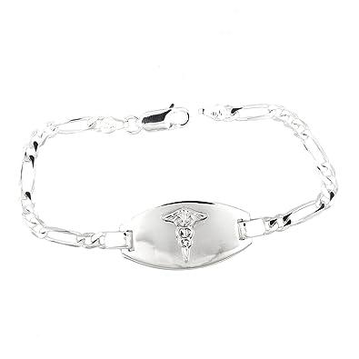 Medical Alert Bracelet >> Amazon Com Sterling Silver Medical Alert Identification Figaro