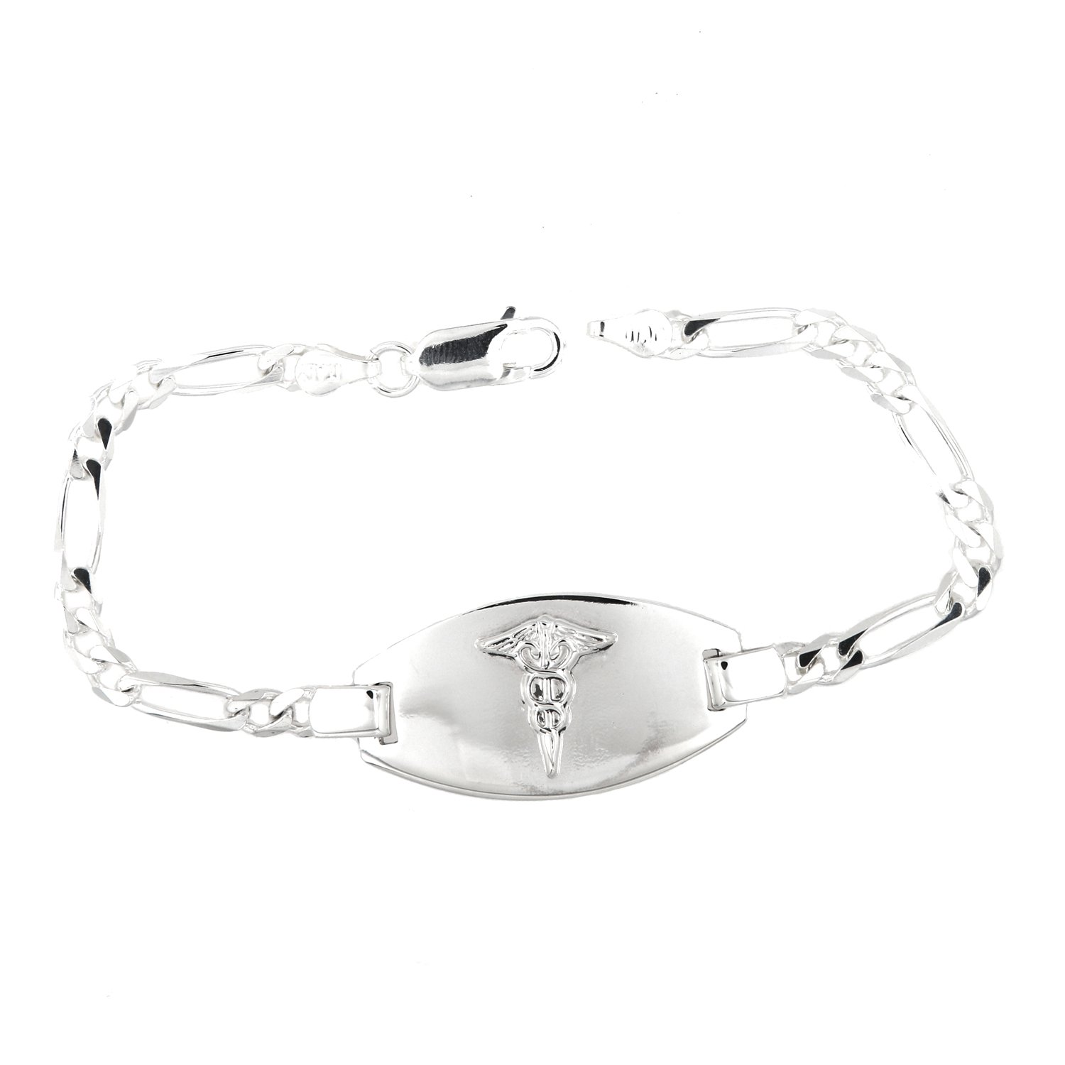 Lgu Sterling Silver Polished Medical Alert Identification Figaro Chain Engravable Bracelet (8 inches)