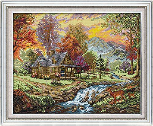 Joy Sunday Stamped Cross Stitch Kits - Counted Cross Stitch Kit, Cross-Stitching Patterns Holiday Villa 11CT Pre-Printed Fabric - DIY Art Crafts & Sewing Needlepoints Kit for Home Decor 24''x19''