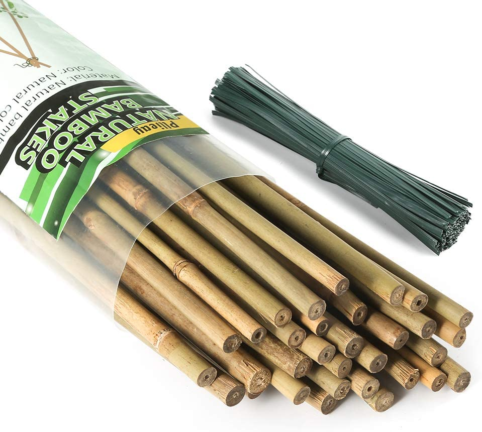 Pllieay 96 Pieces Bamboo Stakes with 450 Pieces 15 cm Long Green Metallic Twist Ties, 4 Feet