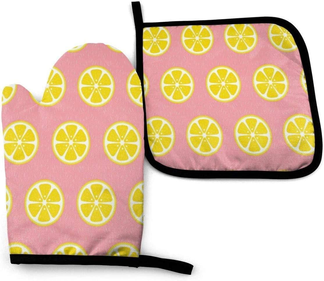 Guantes de cocina de color amarillo limón con lunares, 2 piezas de manoplas de horno resistentes al calor y soporte para ollas para cocinar, hornear, asar a la parrilla y barbacoa, decorativo, lavable