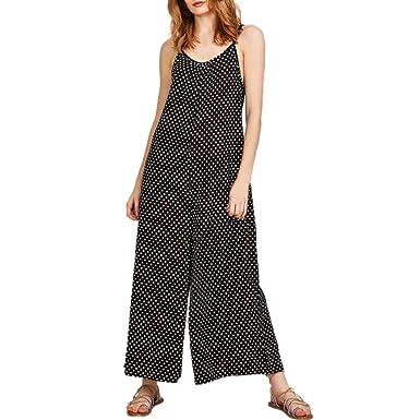 a2dc62bf78d Black Polka Dot Jumpsuits for Women Ladies,Lolittas Summer Sexy Harem  Culotte Maxi Long Bandeau Wide Leg One Piece Casual Loose Trouser Petite  Teen Girls  ...