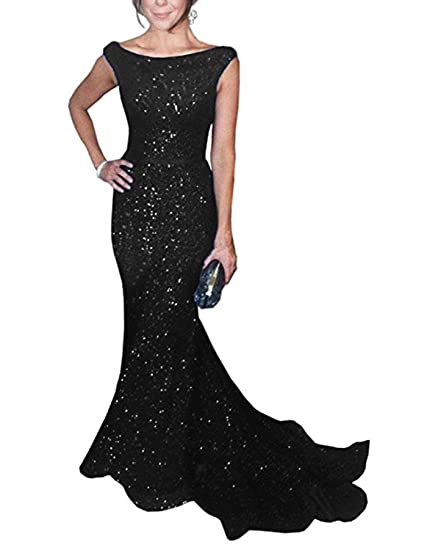 Stillluxury Mermaid Evening Dress Boat Neckline Long Sequin Bridesmaid Dresses Black Size 6