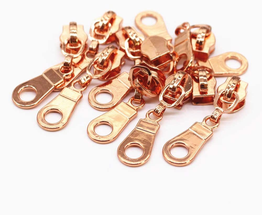 Gold YaHoGa 50PCS Gold Pulls for #5 Nylon Coil Zippers Gold Zipper Sliders for Luggages Purses Bags Bulk