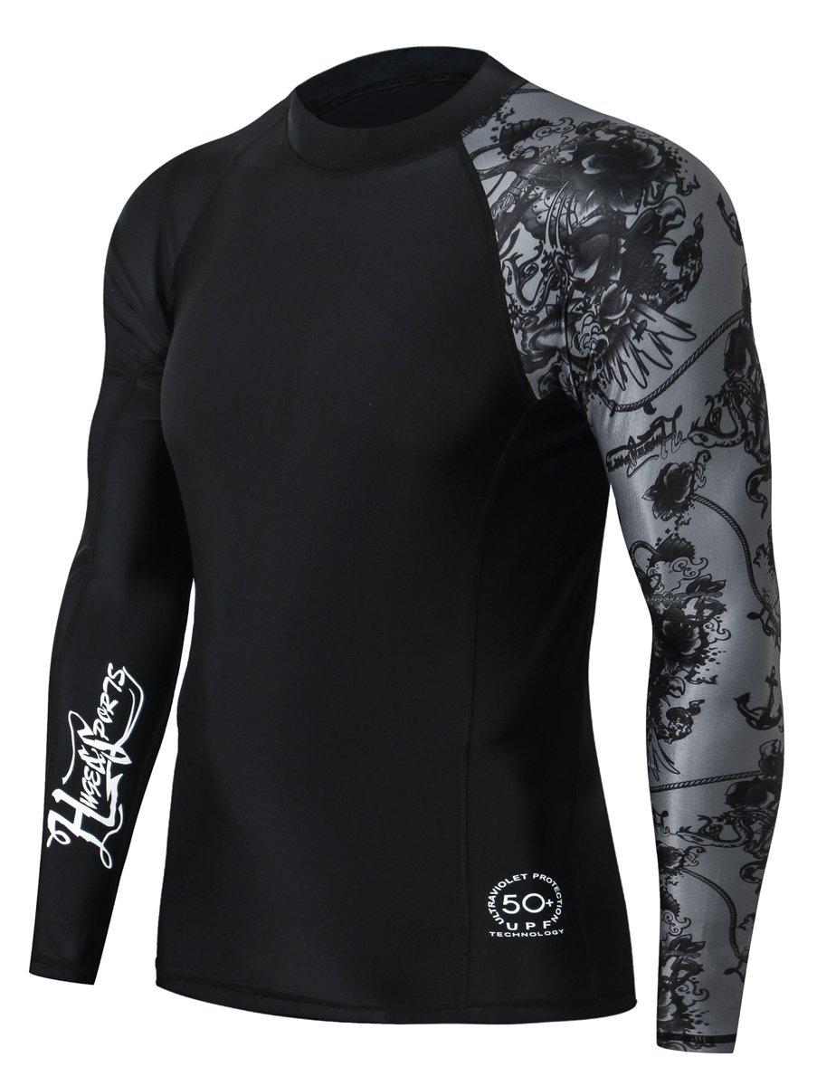 Huge Sports Men's Splice UV Sun Protection UPF 50+ Skins Rash Guard Long Sleeves(Piracy, M) by HUGE SPORTS