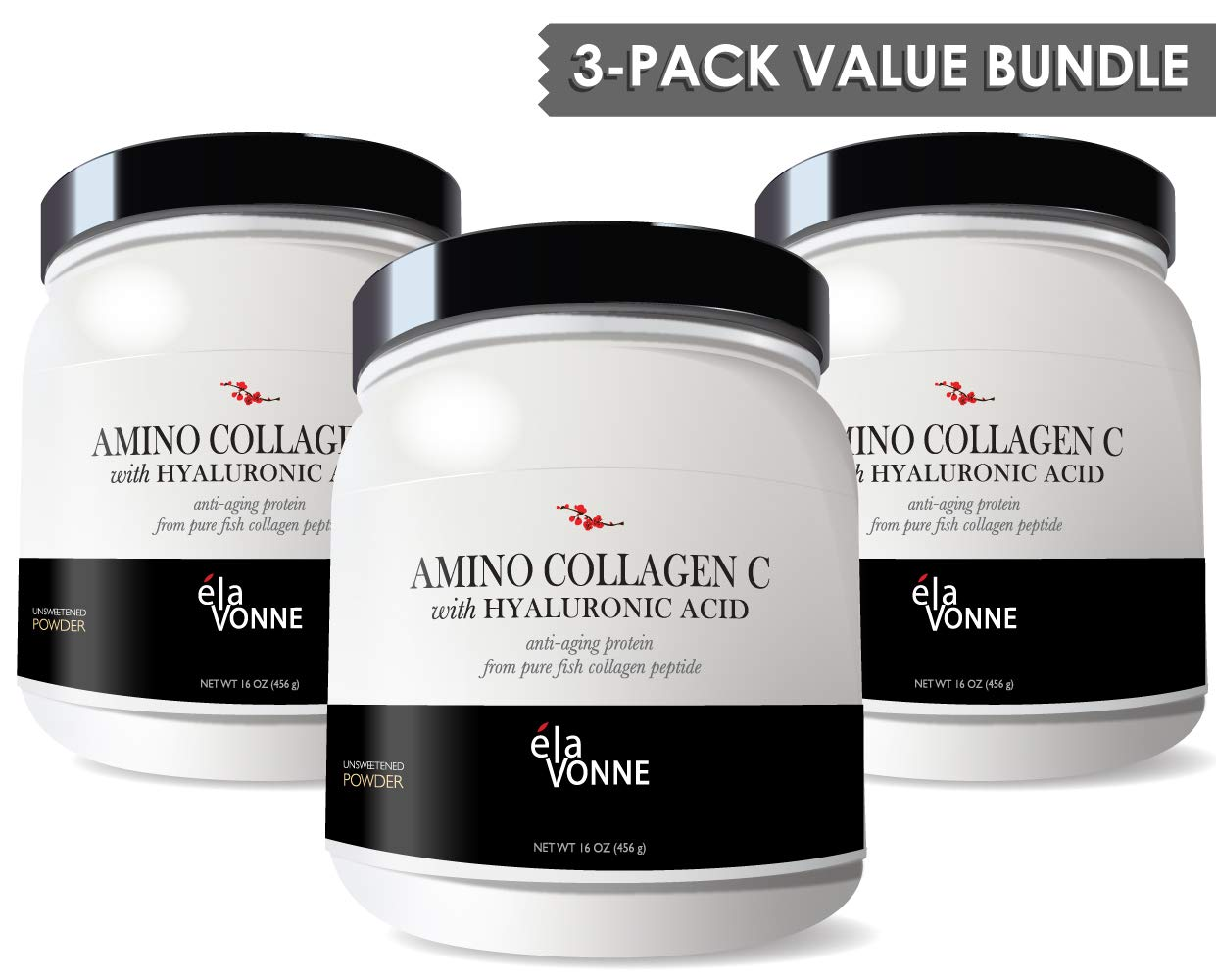 Amino Collagen C - Collagen Peptide Powder (3 Pack/180 Servings) - Pure Fish Protein with Hyaluronic Acid. No Sugar. No Odor. No Flavor. by ELAVONNE