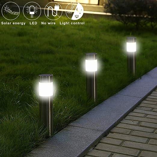 Jardín Led Luz Empotrada - Decoración De Jardín Al Aire Libre De La Linterna De Jardín Camino Palo Piso Impermeable Enciende 5 Piezas: Amazon.es: Hogar