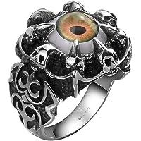 Rockyu 人気 アクセサリー ブランド 悪魔の目 指輪 ファッション ブラック シルバー ステンレス リング メンズ アイティーク 厄除け 開運