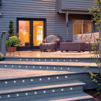IP67 RGB LED 45mm Round Stainless Steel Outdoor Garden Decking Pathway Kitchen Plinth Lights Kit IKON PRO Pack of 10 Multi Colour