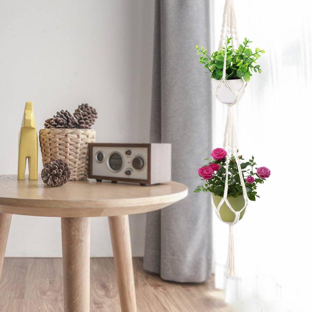 Yotako macram/è 3/pneumatico Plant Hanger e macram/è doppio vaso portavaso da appendere porta piante per interni o esterni decorazione 4/gambe 177,8/cm 149,9/cm