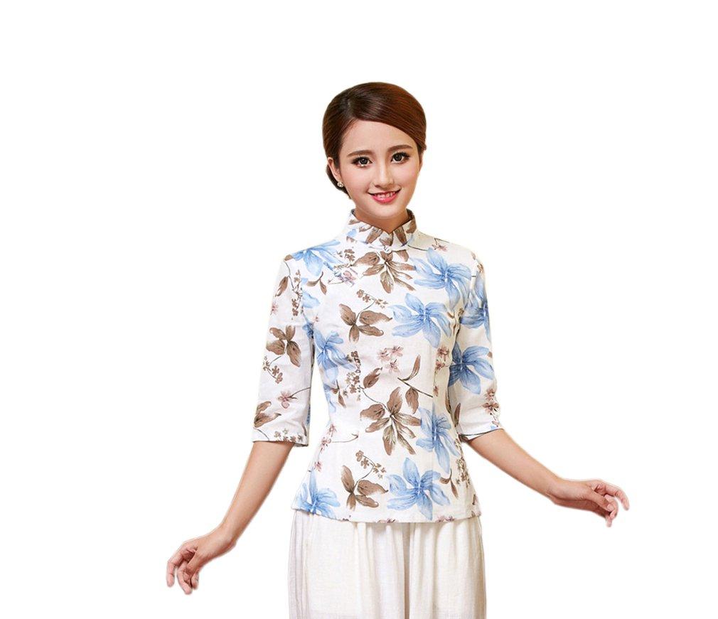 ACVIP Damen Retro Verbessern Stehtkragen Blumen Muster Chinesische Art  Cheongsam Bluse: Amazon.de: Bekleidung