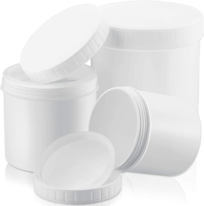 3 Sizes Wide-mouth High Density Polyethylene (HDPE/LDPE) White Plastic Containers 33 oz/ 17 oz/ 10 oz with Pressurized Screw Lid Hot or Cold Freezable Food Storage Jars Ice Cream Tubs