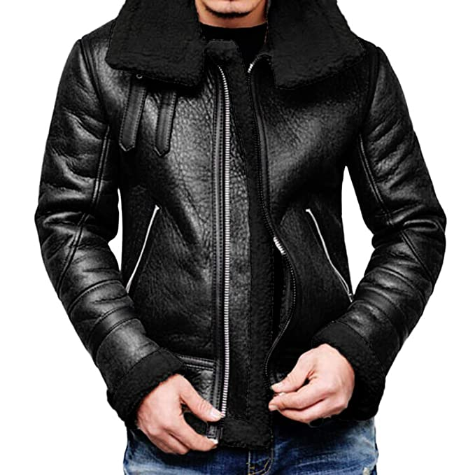 Mens Autumn Winter Warm Coat Faux Fur Lined Lapel High Neck Jacket Classic Motorcycle Faux Leather Zipper Outwear