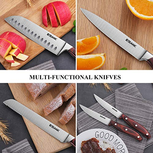Knife Set, 15-Piece Kitchen Knife Set with Block Wooden, Manual Sharpening for Chef Knife Block Set, German Stainless Steel, ESMK (15 PCs Knife Block Set) by ESMK (Image #7)