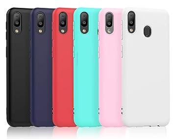VGUARD 6 x Funda para Samsung Galaxy M20, Ultra Fina Carcasa Silicona TPU de Alta Resistencia y Flexibilidad (Negro, Azul Oscuro, Rojo,Verde, Rosa, ...