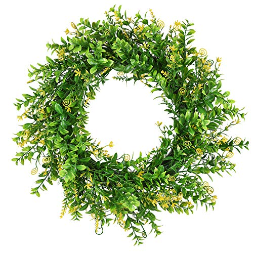"""DearHouse 17"""" Artificial Green Wreath Spring Farmhouse Wreath, Artificial Boxwood Wreath for Front Door Wall Window Party Décor, Indoor/Outdoor Use"""