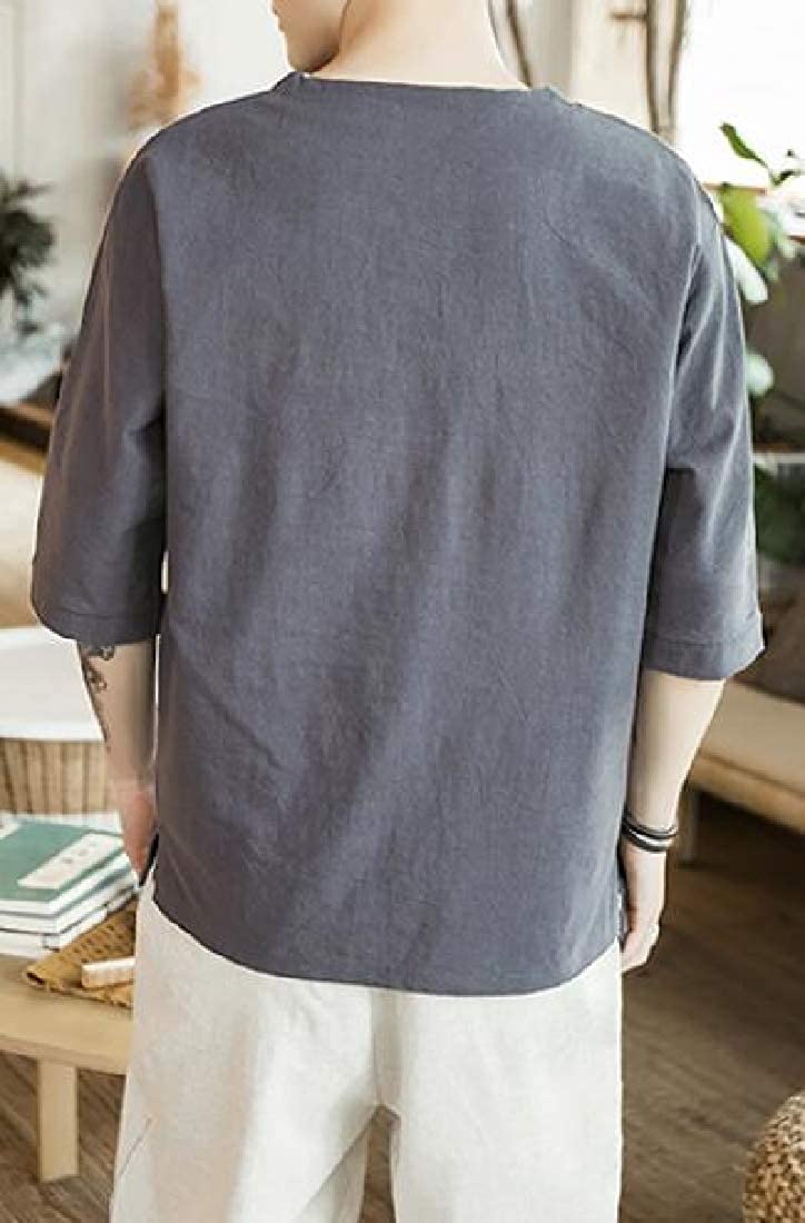 Jofemuho Men Embroidery V-Neck Pure Color 3//4 Sleeve Casual Loose Fit T-Shirt Tee Top