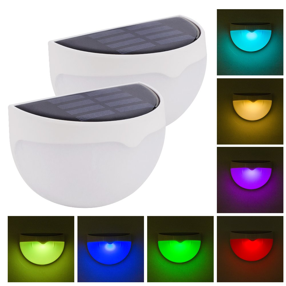 Coquimbo Solar Powered Garden Fence Lights Waterproof Outdoor RGB LED Security Wall Light with 7 Color Changing for Garden, Yard, Patio, Driveway, Fence Decoration (2 Pcs)