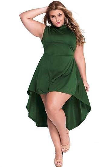 Neue Frau Plus Größe Grün Up Down Hemline Skater Kleid Ball Kleid ...