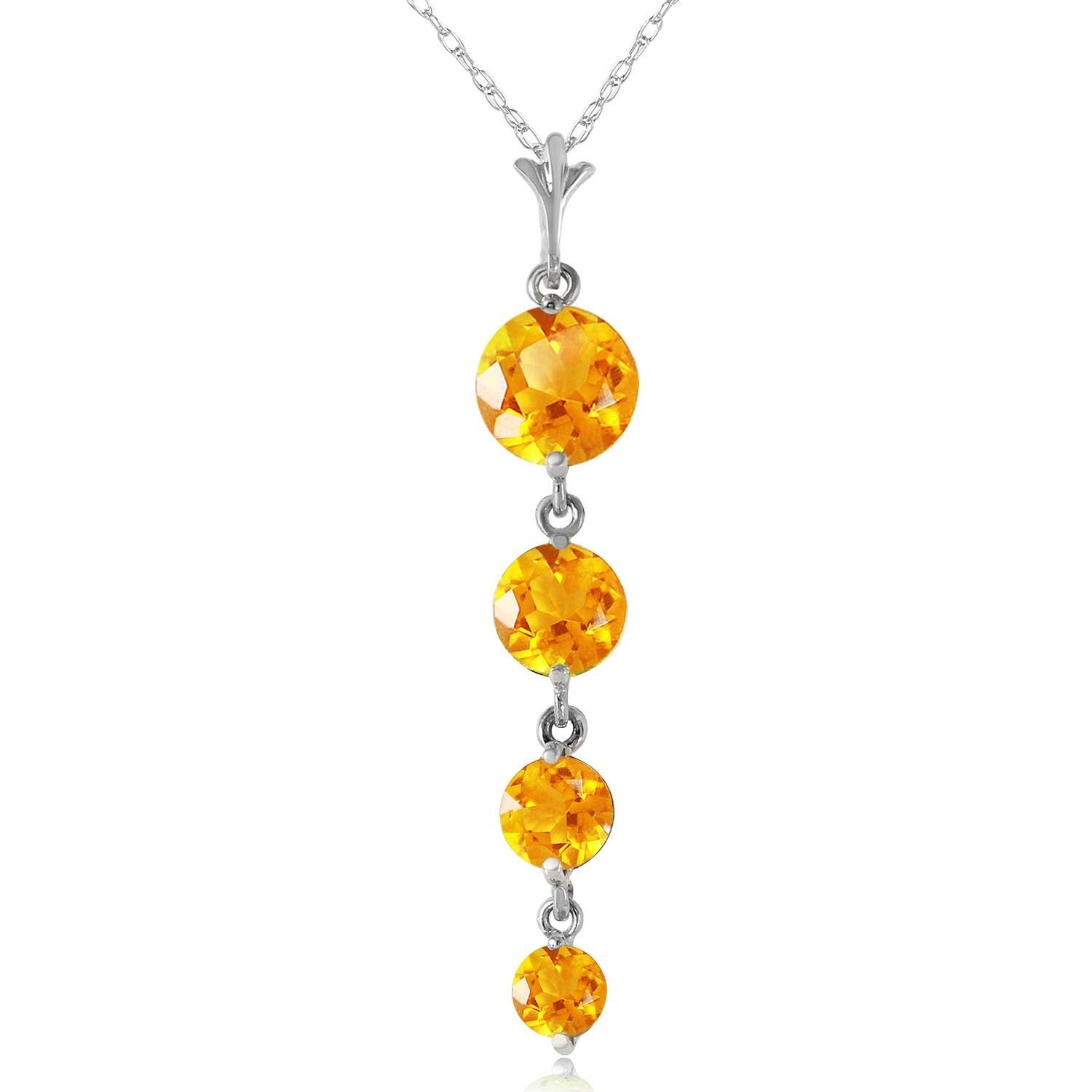ALARRI 3.9 Carat 14K Solid White Gold Love Course Citrine Necklace with 18 Inch Chain Length