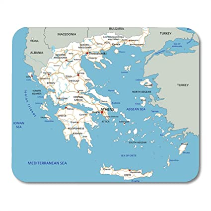 Semtomn Gaming Mouse Pad Athens High Detailed Greece Road Map Labeling  Aegean Atlas Capital 9.5\