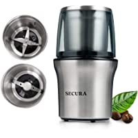 Secura Electric Coffee Grinder & Spice Grinder with 2 Stainless-Steel Blades Removable Bowl (2-Year Warranty)