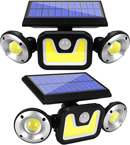 Solar Lights Outdoor with Motion Sensor, 83 LED COB Flood Lights,3 Heads Adjustable Wireless Security Lights,270 Wide Angle IP65 Waterproof for Garage Pathway Porch Garden Patio Yard 2 Pack