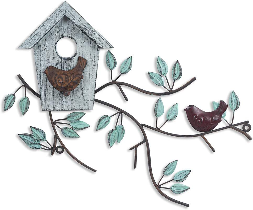 Metal Bird Wall Art Decor, Metal Leaf Wall Art, Metal Leaves Wall Decor, Tree Leaf Metal Wall Art Sculptures, Metal Tree Wall Decor with Birds Wood Birdhouse for Balcony Garden Metal Home Accent