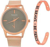 Loweryeah Women 2 Pcs Quartz Watch Cuff Engraved Bangle Bracelet Set Watch with Mesh Band (Rose Gold Color 2)