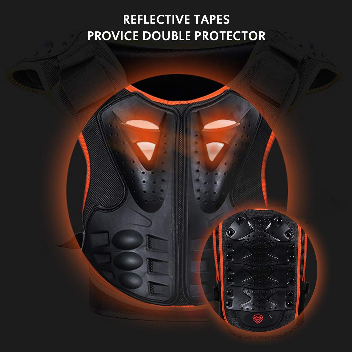 Kids Body Chest Spine Protector Armor Protective Vest Reflective Gear For Dirt Bike Skiing Skating Sport Size Medal by color tree (Image #7)