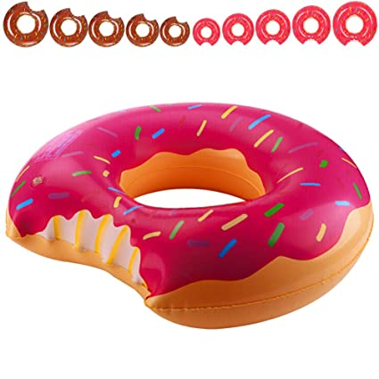 Yarssir Giant Donut Pool Float, Funny Inflatable Vinyl Summer Pool Beach Toy, Chocolate Strawberry