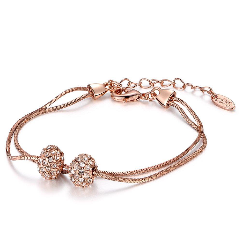 Rose Gold Bracelet Austrian Crystal Adjustable Bangle Jewelry for Womens Girls Van Unico