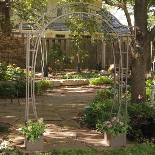 (Coral Coast Coral Coast Jeweled Metal Arch Arbor with Planters, Iron, 73.8W x 16D x 90.9H in.)