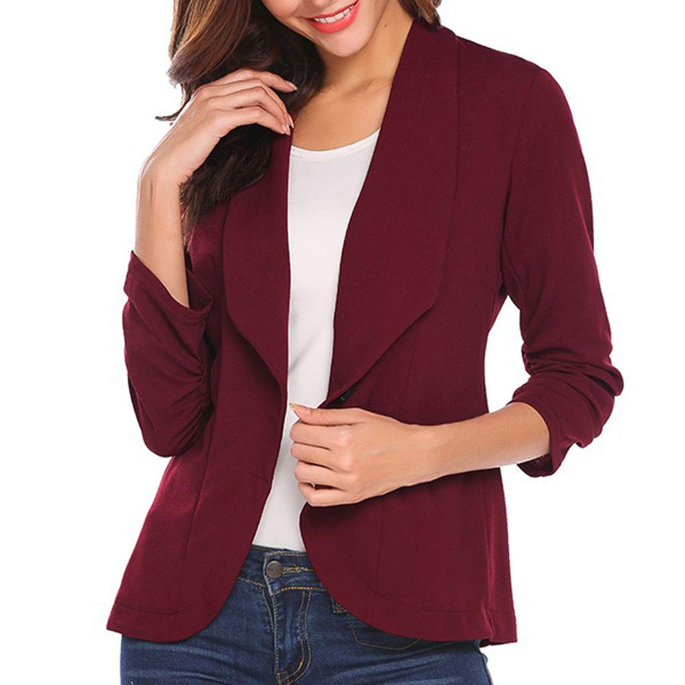 NUWFOR Women's Solid Knitted Open Front Long Trench Coat Cardigan?Wine,L?