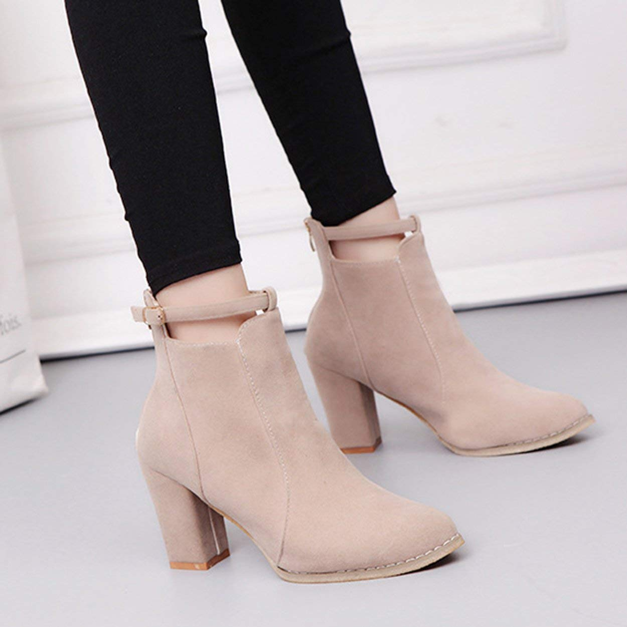 Boots Winter Womens Shoes Suede Boots High Heeled Pointy Martin Boots